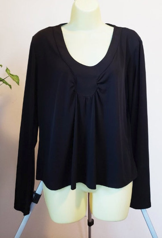 Vintage black blouse womens top size large long sleeve scoop neck ladies 90s clothing