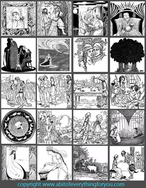 vintage antique fairytale book illustrations clip art digital download collage sheet 2 inch squares graphics images craft printables