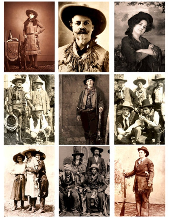 antique cowboy and cowgirl photographs collage sheet print scrapbooking crafts paper country western wall art decor