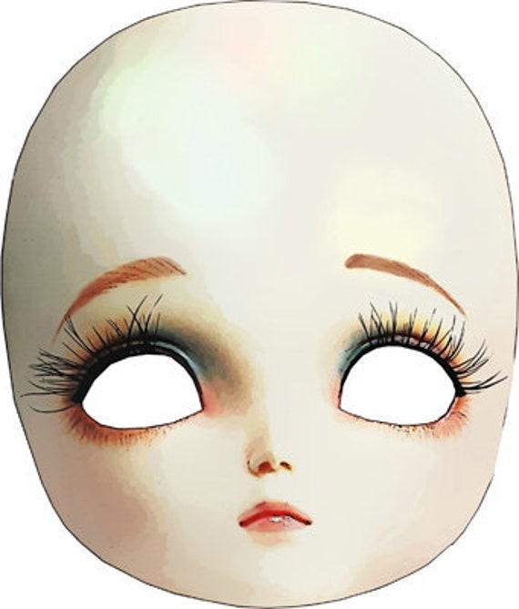 porcelain doll printable paper mask art clipart png jpg instant download digital image downloadable  graphics