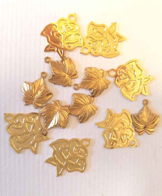 12 vintage rose leave gold brass metal flower charms mixed lot
