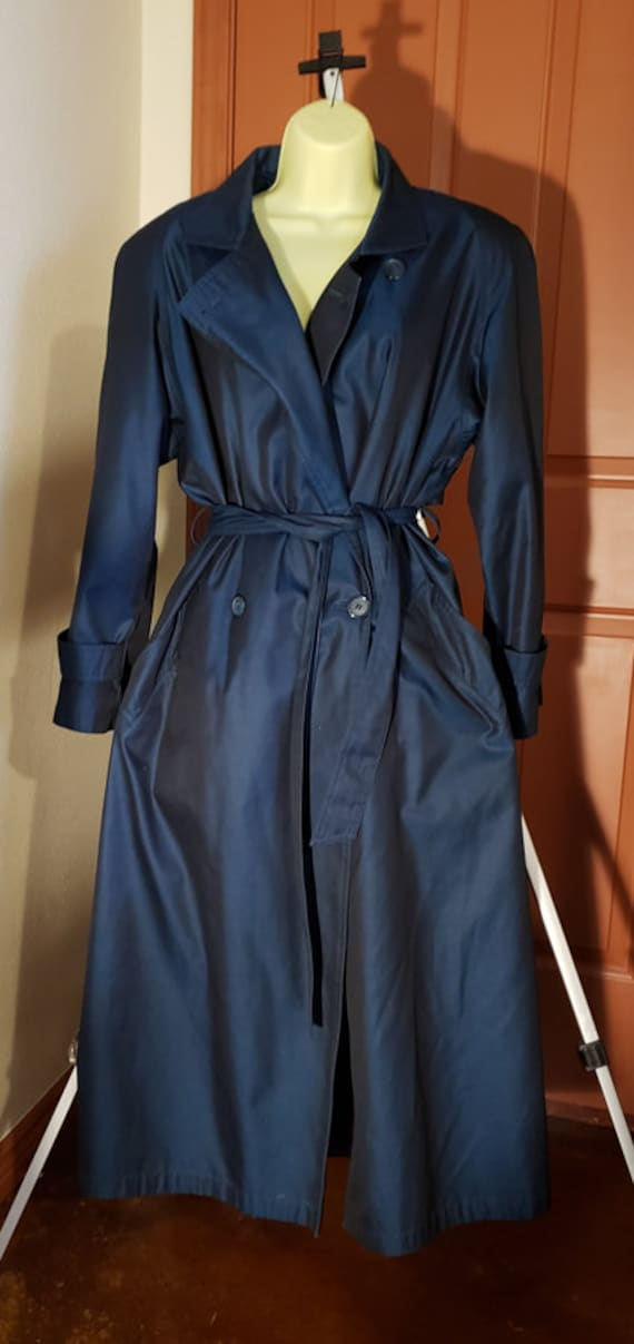 vintage trench coat  dark blue iridescent Women's size medium vintage 90s button down Evan Picone