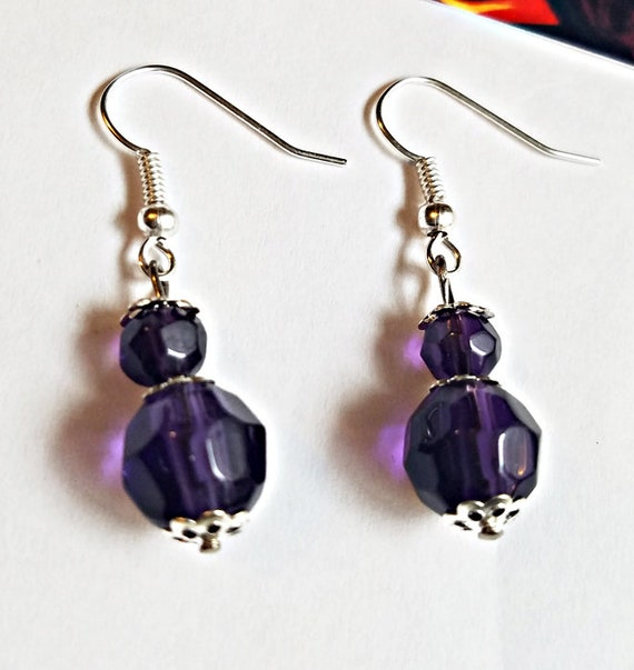crystal glass bead drop dark purple earrings dangles faceted handmade jewelry