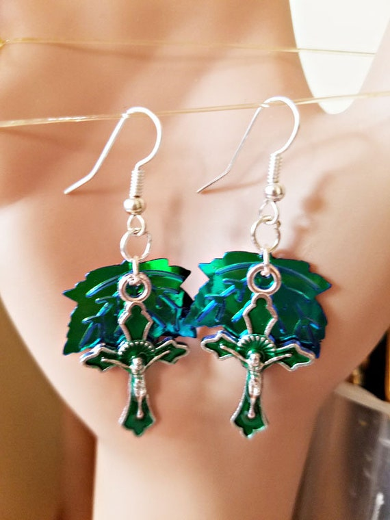 green cross leaf earrings silver sequin dangles crucifix religious handmade jewelry