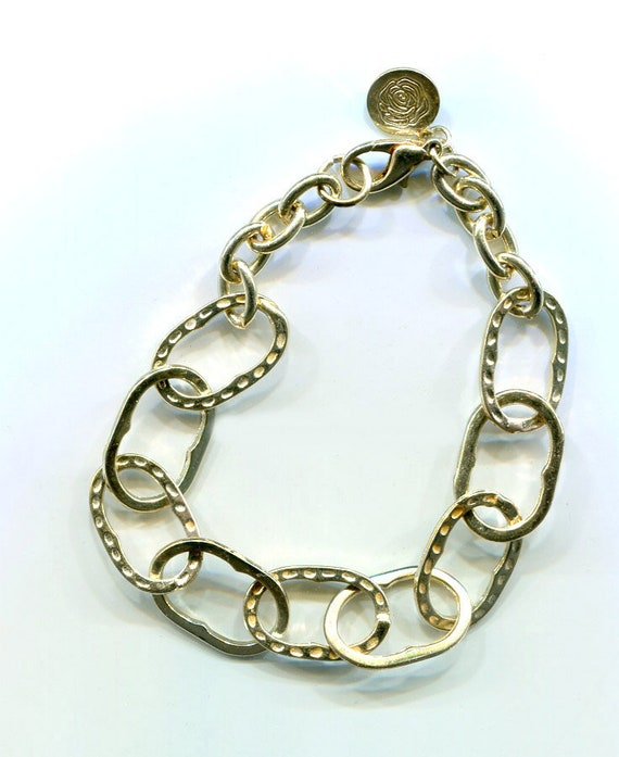 large link gold chain bracelet 10mm x 12mm metal womens mens unisex jewelry