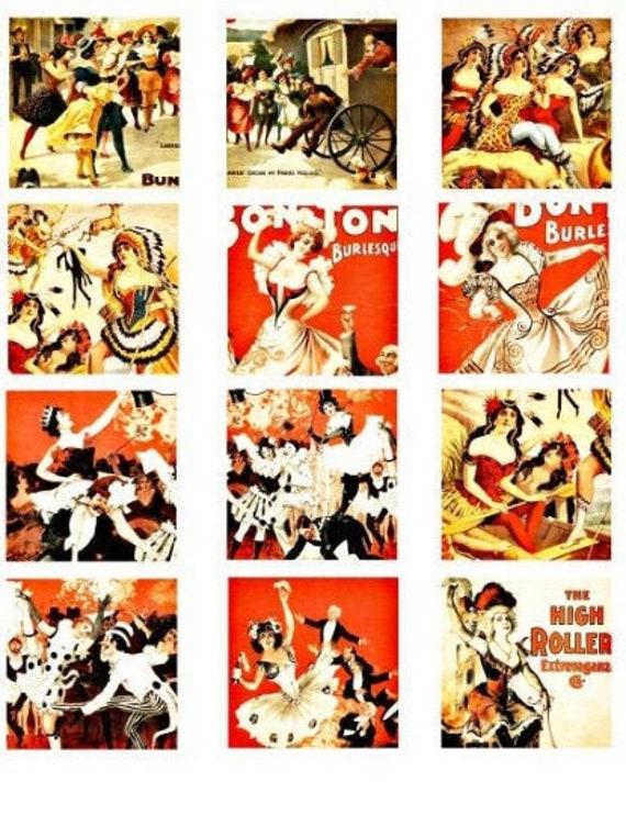 1800s burlesque exotic dancers showgirls vintage art clipart digital download collage sheet 2.25 inch squares graphics images printables