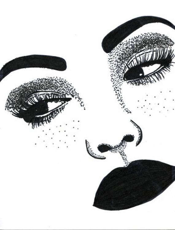 freckle face woman original art ink drawing makeup pop art fashion modern black and white artwork