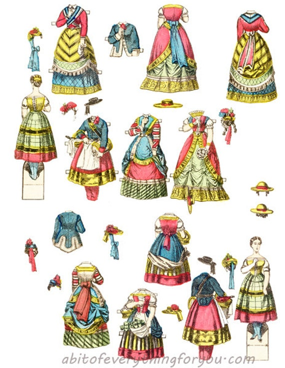 victorian woman paper doll & clothes printable die cuts clipart digital download craft cut outs downloadable graphics images scrapbooking