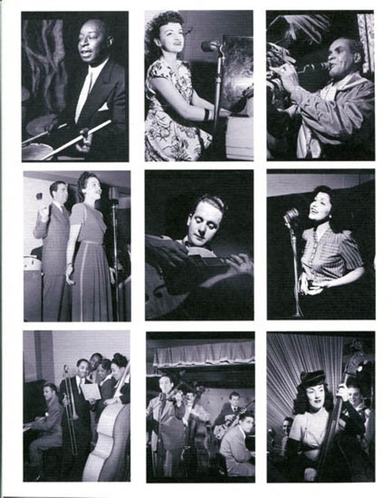 antique musicians music photographs collage sheet print scrapbooking craft paper vintage black and white photos