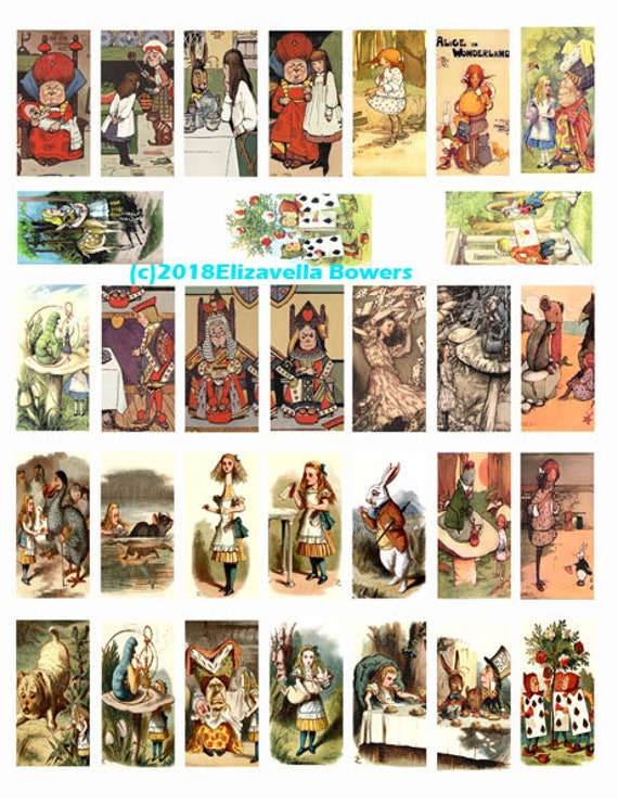 "alice in wonderland domino collage sheet 1"" X 2"" inch domino graphics vintage images digital download printables for pendants pins"