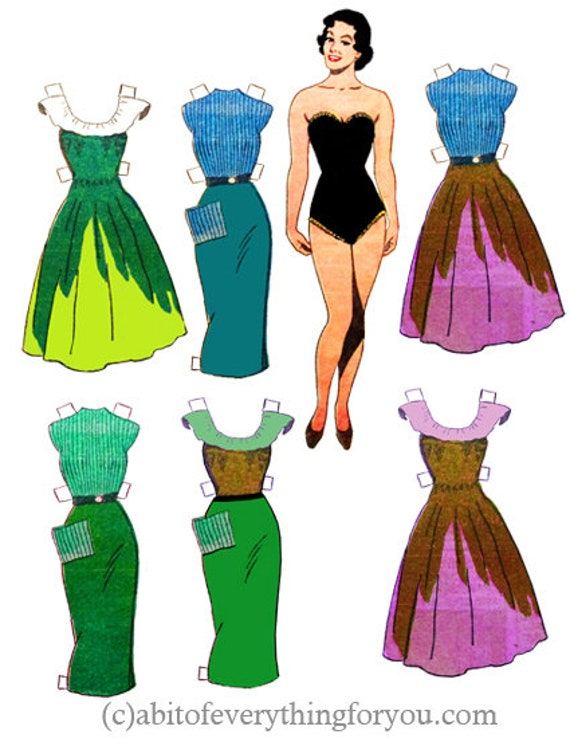 1950s pinup girl paper doll set clothes printable png clipart digital download craft cut outs downloadable graphics images scrapbooking