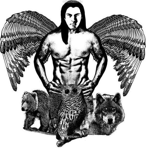native American Indian Man Angel original art print spirit animals wolf owl bear wildlife nature black and white artwork home decor gifts