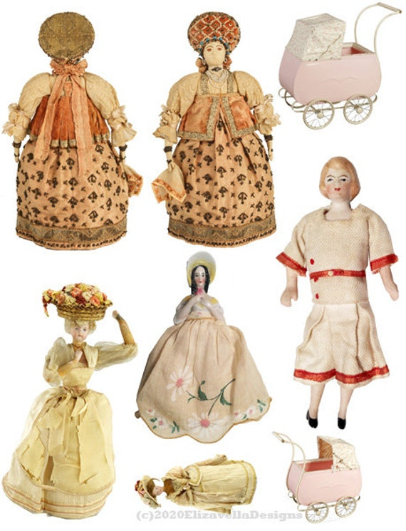 antique dolls stroller clipart die cuts printables digital download image graphics DIY craft cut outs