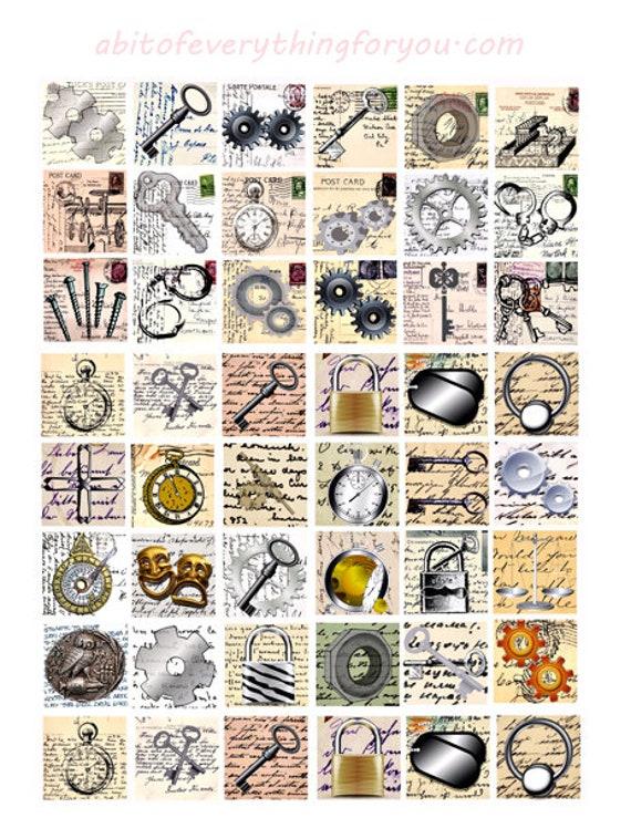 gears pocket watches skeleton keys steampunk art collage sheet 1 inch squares clip art digital download graphics images printables