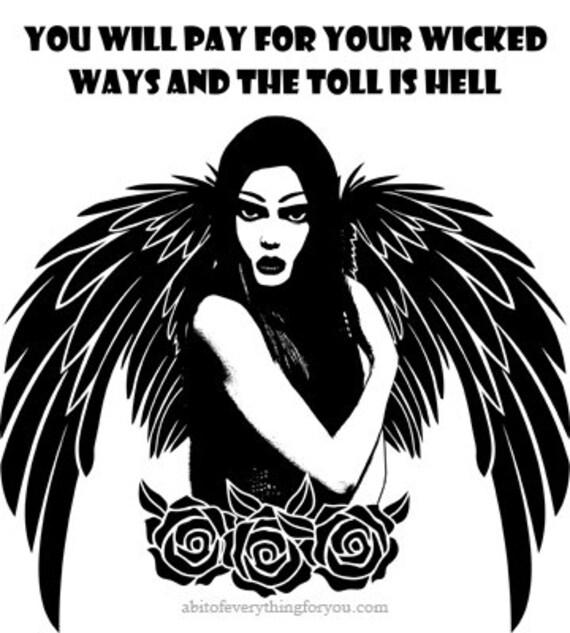 avenging gothic angel wicked people quotes printable art print original  digital download graphics images fantasy dark artwork