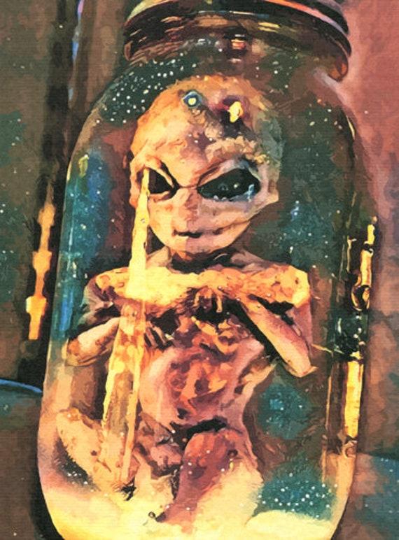 area 51 alien in jar original art print creepy science fiction fantasy creature extra terrestrial artwork by Elizavella
