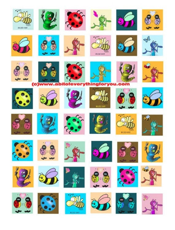 bug insect cartoon clip art digital download collage sheet 1 inch squares graphics images kids craft printables