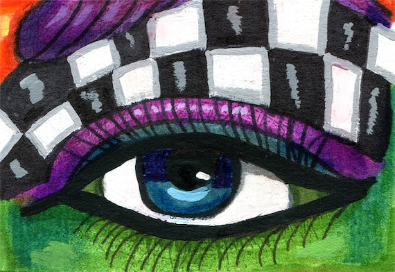 abstract aceo atc original art womans eye checkers drawing ink miniature surreal artwork by elizavella