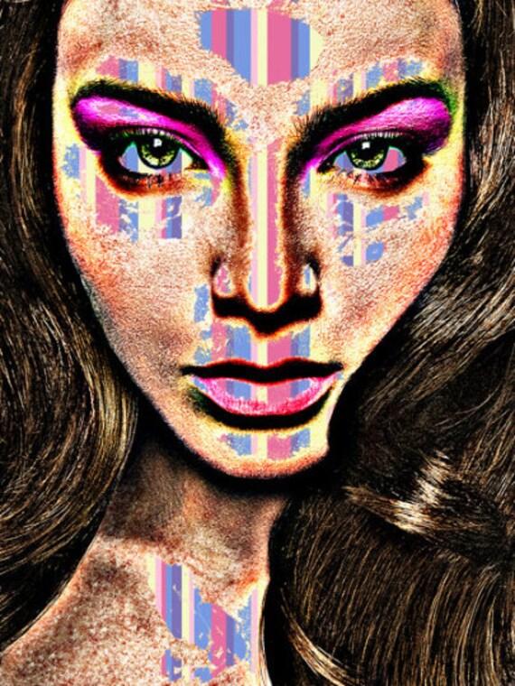 Virtual Reality Woman original Art print womans face modern artwork By Elizavella