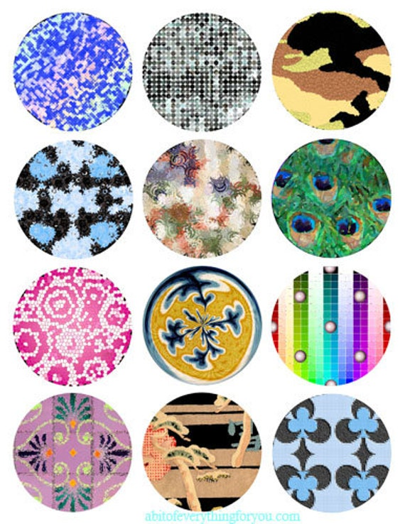 impressionist abstract art collage sheet 2.5 inch circles printables clipart digital download graphics images craft tags coaster diy jewelry
