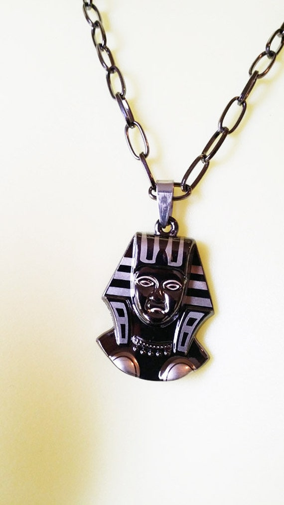 Black EGYPTIAN Queen NECKLACE metal steel egyptian pendant black chain handmade unisex costume jewelry