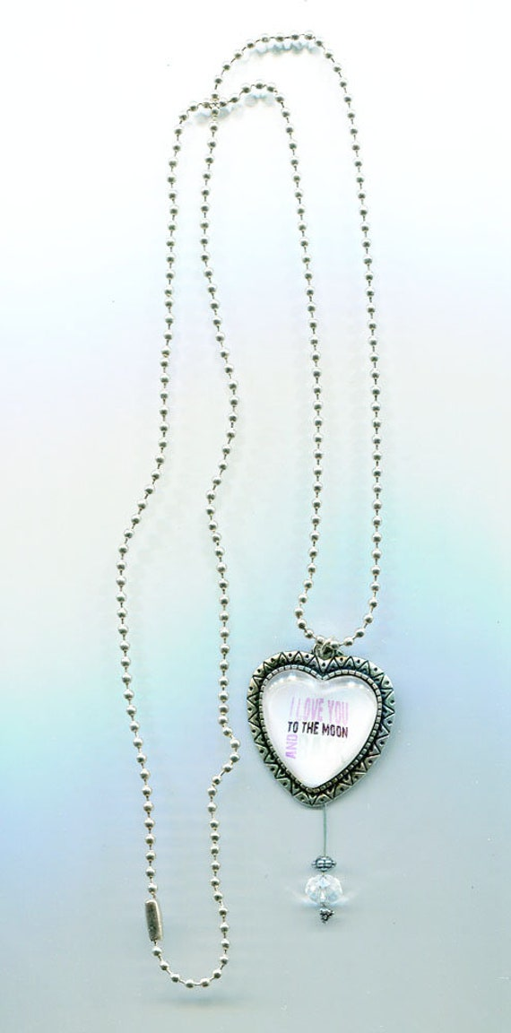 love you to the moon and back heart necklace silver ball chain long romance handmade heart pendant jewelry