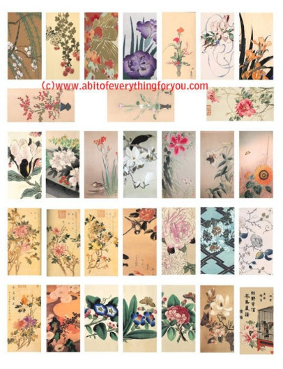 "flowers blossoms watercolor art drawings clipart digital download domino collage sheet 1"" x 2"" inch graphics images printables"