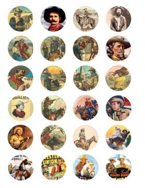 """vintage cowboys cowgirls art collage sheet 1.5"""" circles clip art digital download graphics images postcards movie posters art printables"""