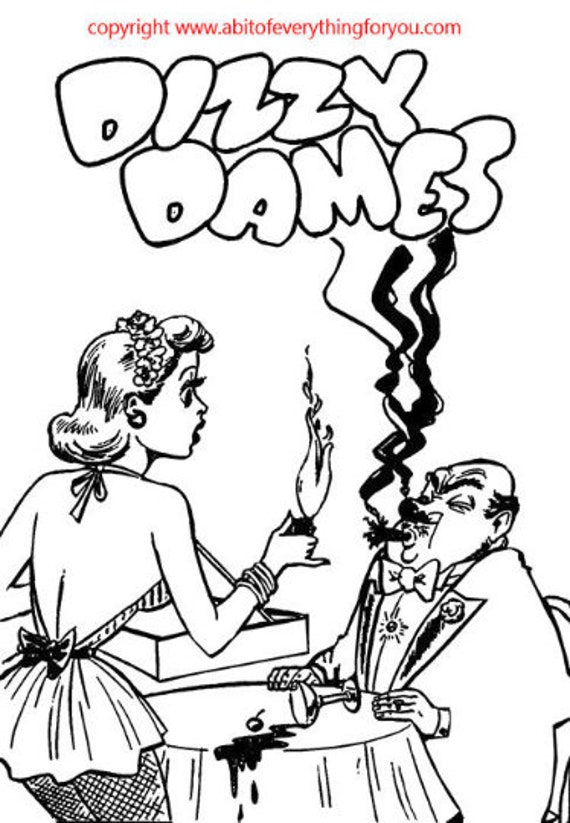 Dizzy Dames Comics Art Coloring Page printables pinup girls digital download graphics images Adult Colouring Pages line art digital stamp