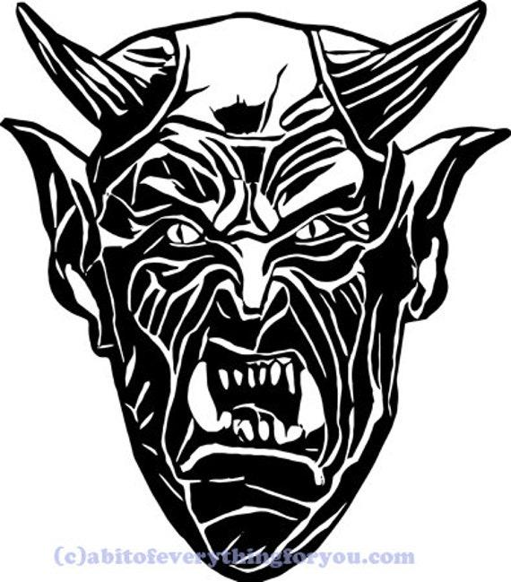 Lucifer silhouette Devil Demons face printable wall art clipart svg vector png jpg digital image goth horror graphics instant download