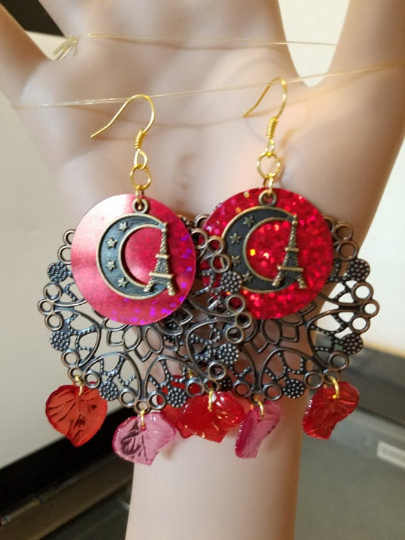 Eiffel tower moon chandelier earrings dangle red leaf drops bronze sequins sparkle glitter handmade jewelry