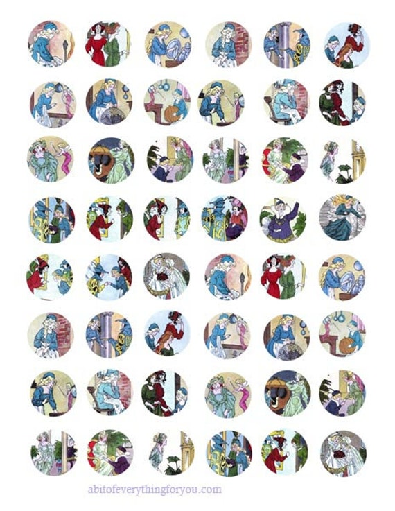 "vintage cinderella fairytale clipart digital download collage sheet 1"" inch circles images pendant pin magnet printables"