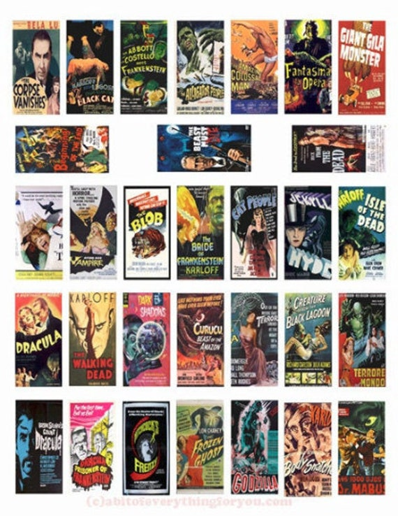 """monster horror movie posters domino collage sheet domino clipart digital download  1"""" x 2"""" inch domino graphics vintage images printables"""