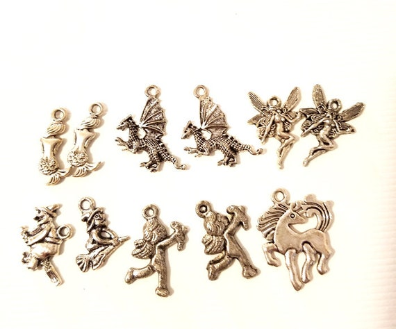 11 silver fantasy fairytale metal charms pendants 15mm to 22mm fairy mermaid