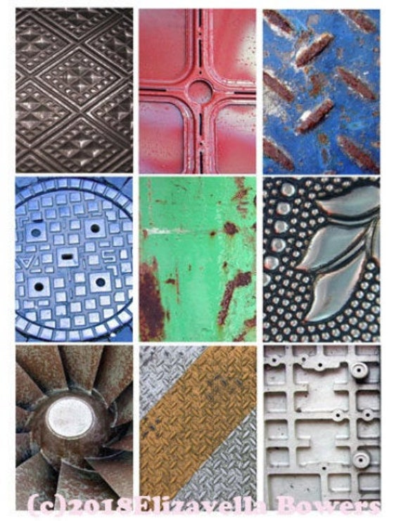 collage sheet metals grunge digital download 2.5 x 3.5 aceo inch rectangle graphics steampunk images printables diy crafts scrapbooking