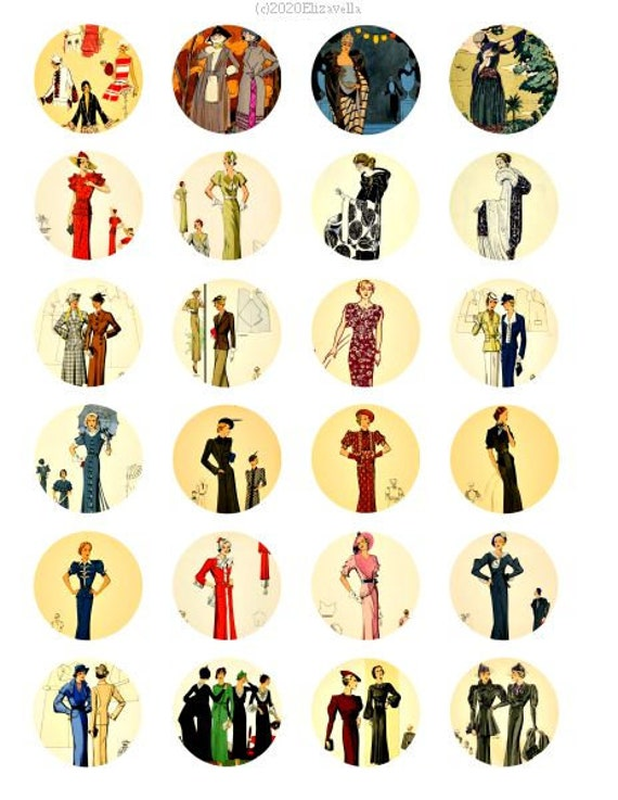 "vintage 1920s flapper girl fashion clipart digital download collage sheet 1.5"" inch circles graphics images diycraft printables"