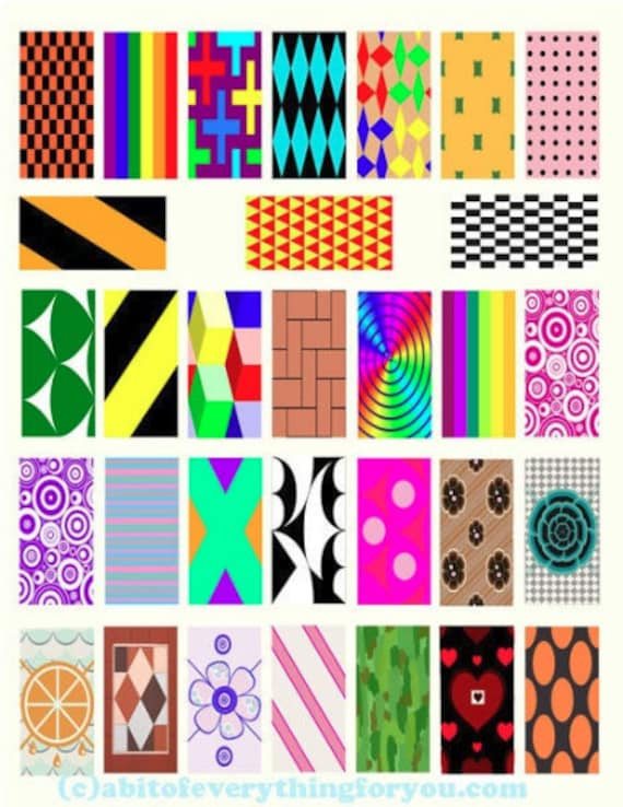 "abstract geometric art rectangles domino collage sheet 1""x2"" inch clip art graphics images digital download DIY craft printables"