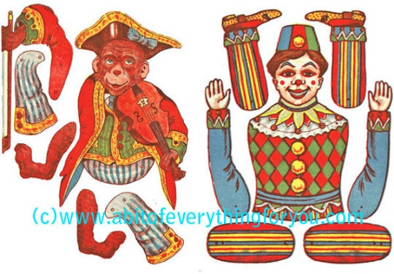 circus clowns monkey paper doll crafts clipart digital download images die cuts cut outs digital paper dolls kids craft printables