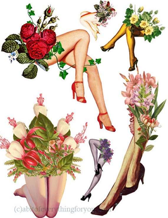 pinup girls legs with flowers die cuts collage graphics clipart digital download craft printables cut outs images DIY decoupage scrapbook