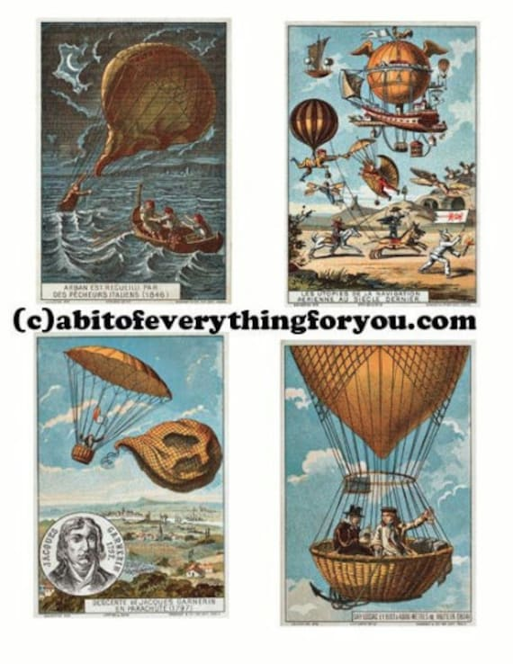 vintage hot air balloon rides flight collage sheet printable diecuts clipart digital download images aceo atc craft tags cards scrapbooking