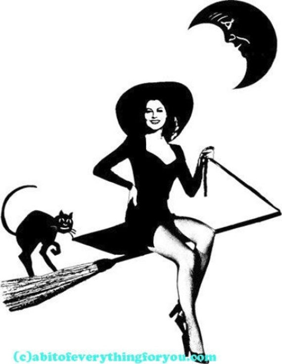 png sexy witch black cat pinup girl printable art print halloween clipart jpg download digital image graphics digital stamp black & white