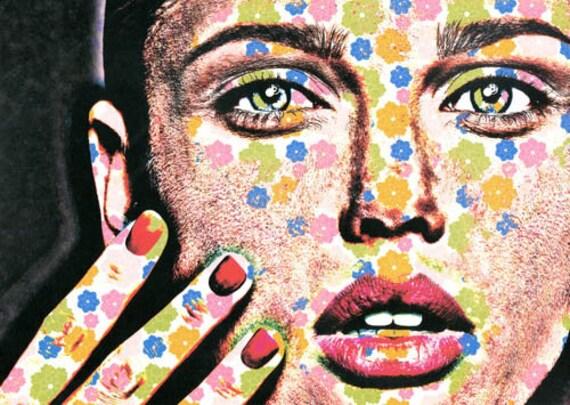 flower Goddess womans face original digital art print modern tattoo face artwork contemporary fantasy