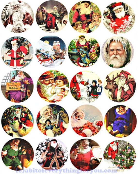 vintage santa christmas collage sheet clipart digital download 2 inch inch circles graphics images printables diy jewelry making