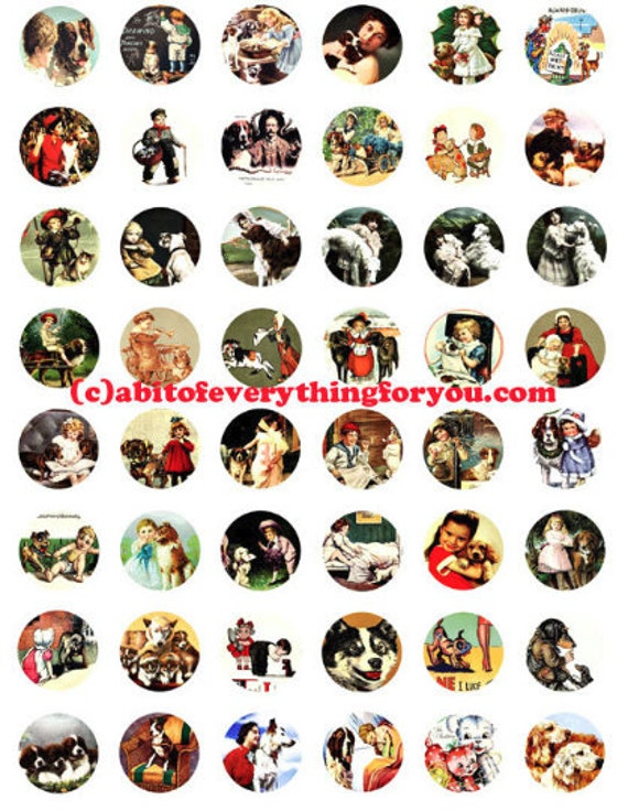 collage sheet 1 inch circles puppy dogs vintage art postcards clip art digital download  graphics images pendant printables magnets pins
