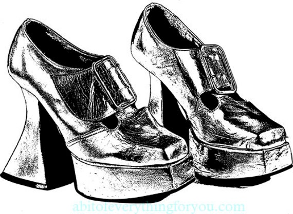 1970s buckle high heel shoes, clipart png jpg, Digital Download, fashion printable art, Image graphics coloring page black & white art