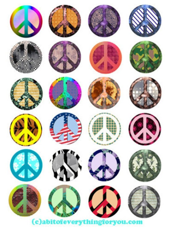 printable digital collage sheet peace signs symbols art clipart 1.5 inch circles downloadable images pendants diy jewelry making scrapbook