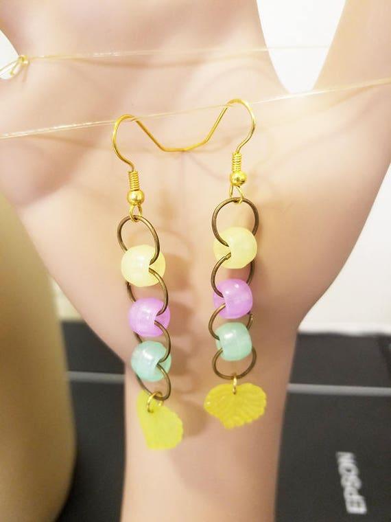 glow in the dArk jewelry glow in the dark earrings bead drop earrings glow pony plastic beaded party rave jewelry