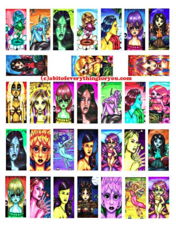 downloadable original fairy art drawings paintings domino collage sheet 1 x 2 inch images clipart digital download graphics image printables