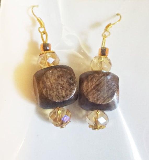 brown big bead drop earrings long dangles wood glass beaded chunky boho jewelry