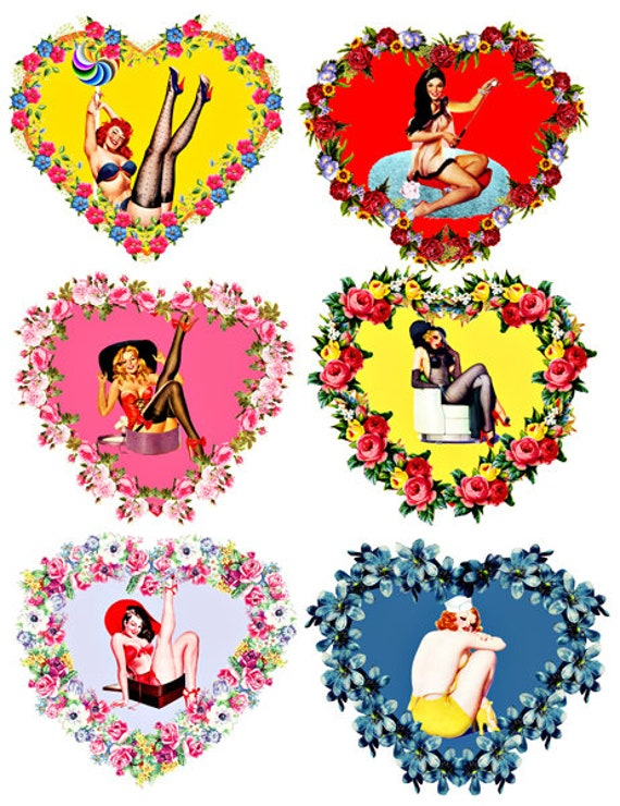 pinup girl floral hearts die cuts cut out craft printables clipart digital instant download collage sheet printable